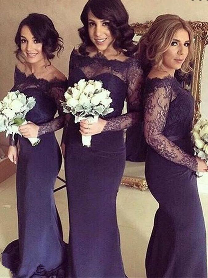 P396 Long sleeve navy bridesmaid dresses, lace bridesmaid dresses, Custom bridesmaid dresses, custom bridesmaid dress, mermaid bridesmaid dresses
