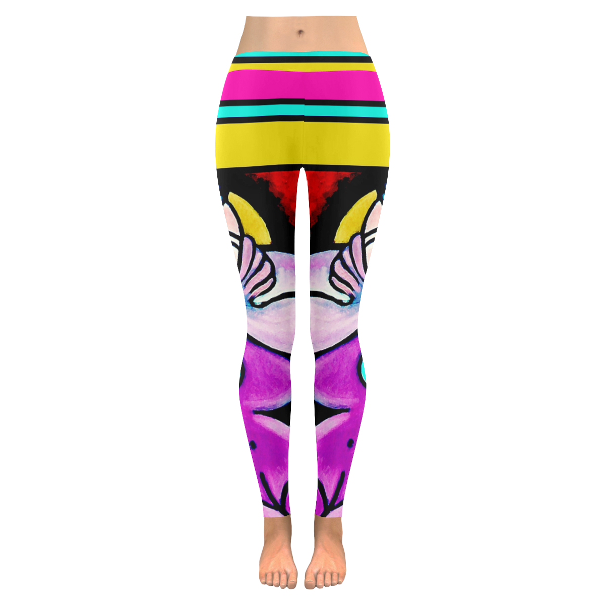 Funky Picasso Style With Stripes Womens Low Rise Leggings
