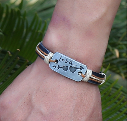 Sweet Arrow Through Heart Lovers Bracelet