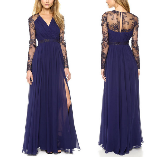 Formal Long Sleeve Lace Navy Blue Prom DressA Line Split Chiffon Lace Prom Dress-long Sleeve Navy Blue Lace Evening Gown