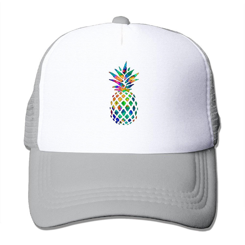 ee3c37b32c7 Watercolor Pineapple Trucker Cap With Mesh Adjustable Hat Caps Black ...