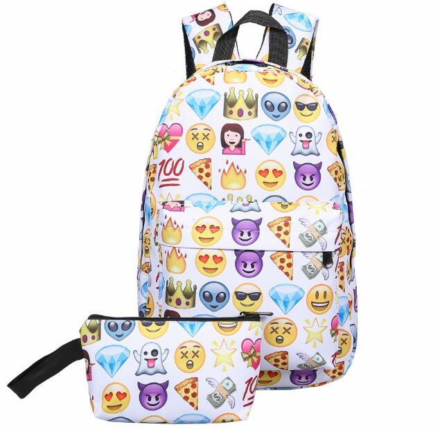 Emoji Prints Backpack With Purse (67447442 shopgog) photo