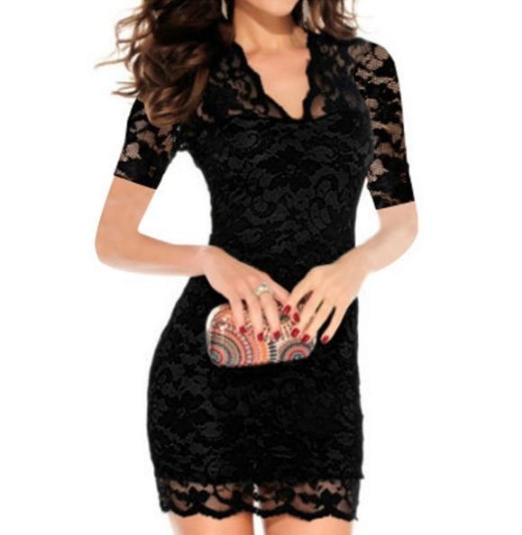 Stylish Lady Womens Sexy V-neck Short Sleeve Lace Bodycon Stretch Casual Party Mini Dress