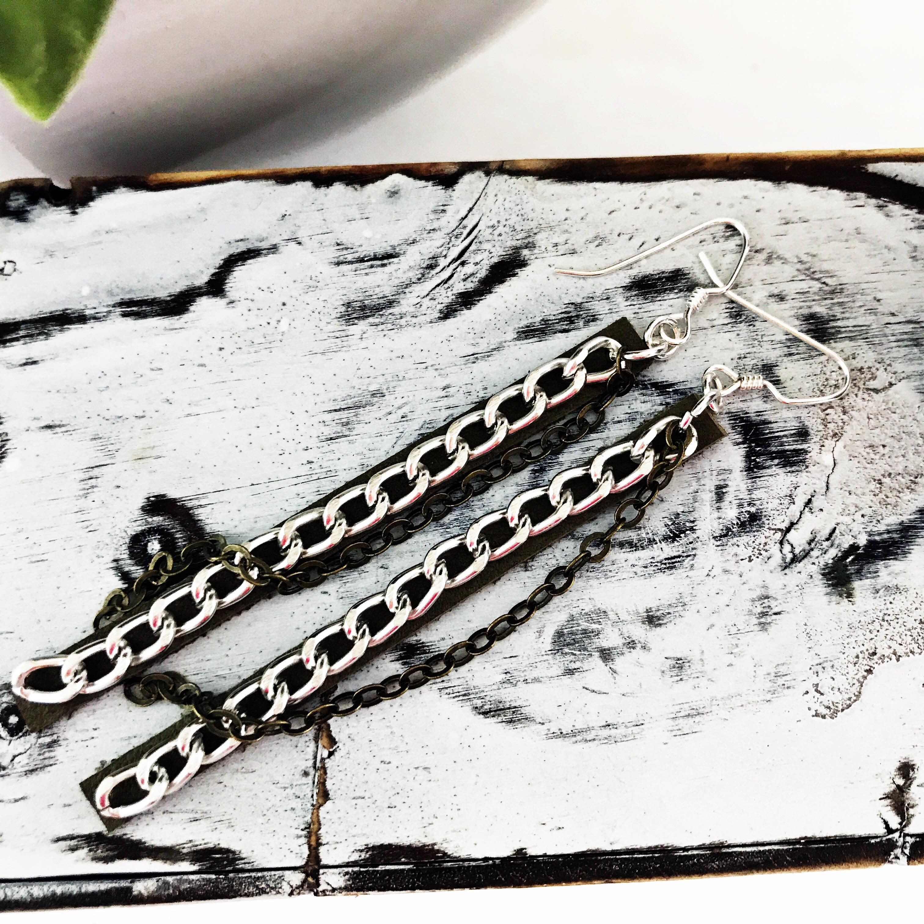 Lyme WarriorsGreen Leather EarringsDangle EarringsChainsSterling Silver Filled Ear Wire
