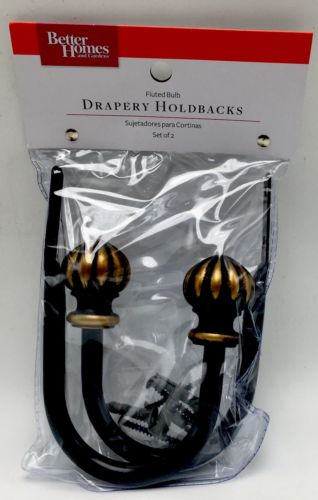Better Homes Gardens Fluted Bulb Holdback Curtains Oil-rubbed Bronze New