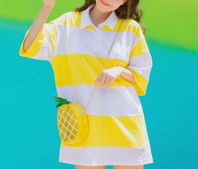 0efc6efede01 Yellow White Stripe Collar Oversize T-shirt Dress on Storenvy