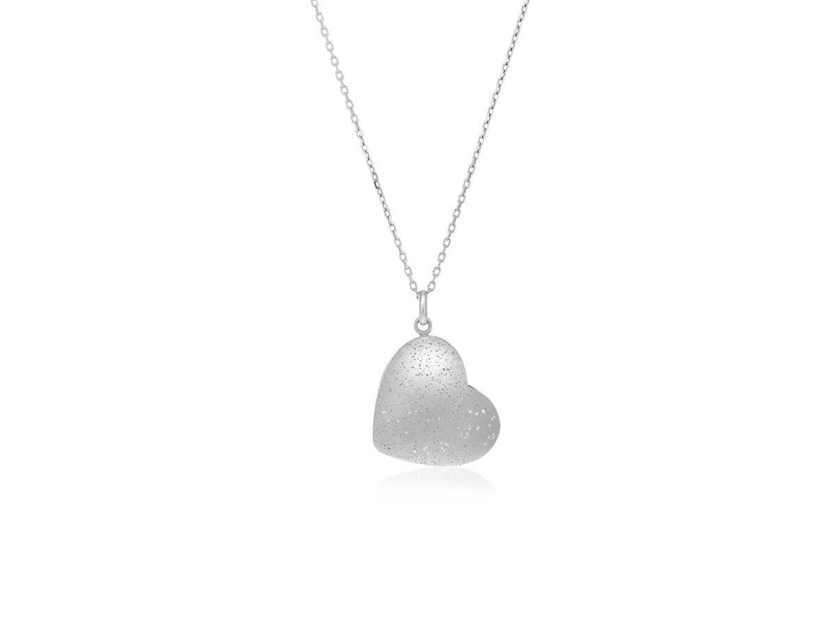 Diamond Dust Heart Shape Pendant In Sterling Silver