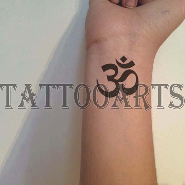 Set of 3 Sanskrit OM Symbol tribal temporary tattoo body art sticker ...