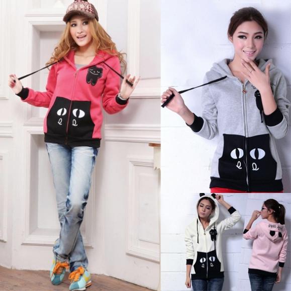 Womens Girls Fashion Cute Zip Ear Hoodie Cat Long Hooded Sweatshirt Coat Outwear