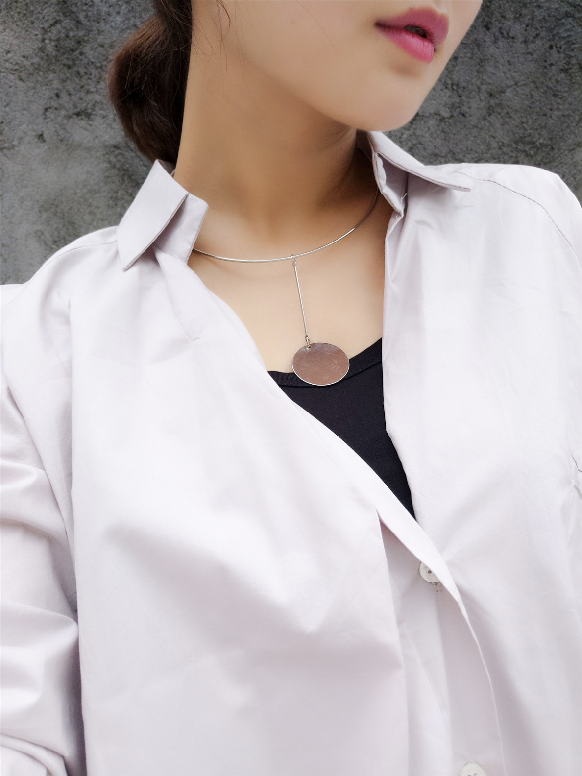 Temperament All-match Exaggerated Disc Necklace