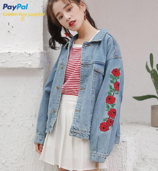 Rose Embroidery Denim Jacket Moooh Online Store Powered By