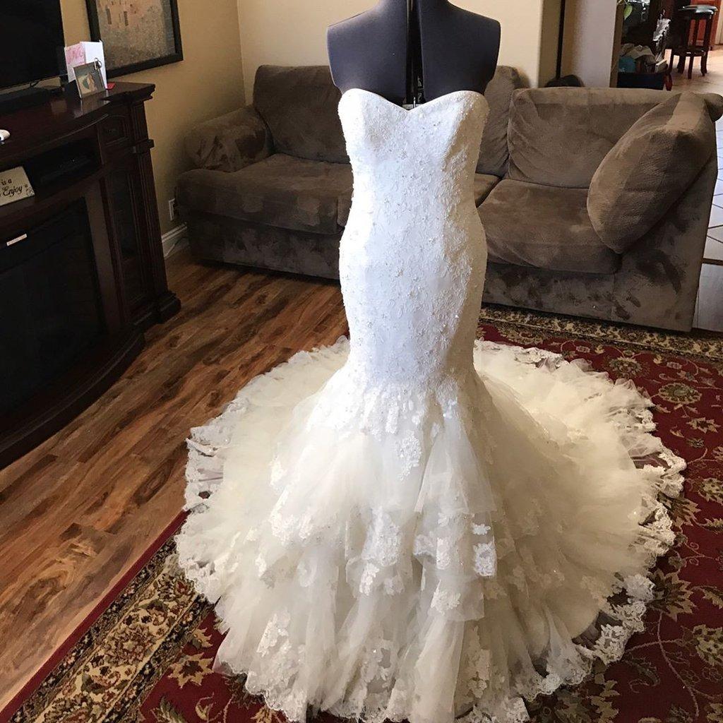Romantic Sweetheart Bodice Corset Lace Mermaid Wedding Dress With ...
