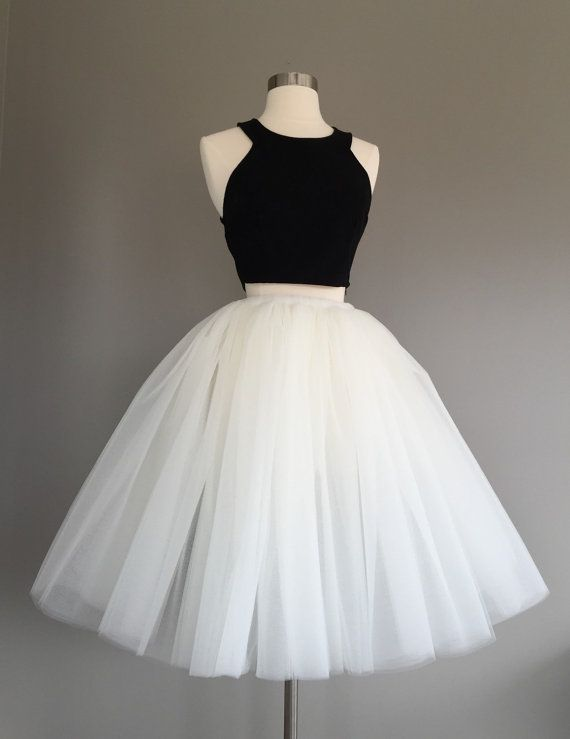 Cute Two Pieces Tulle Short Prom Dress Black And White Homecoming