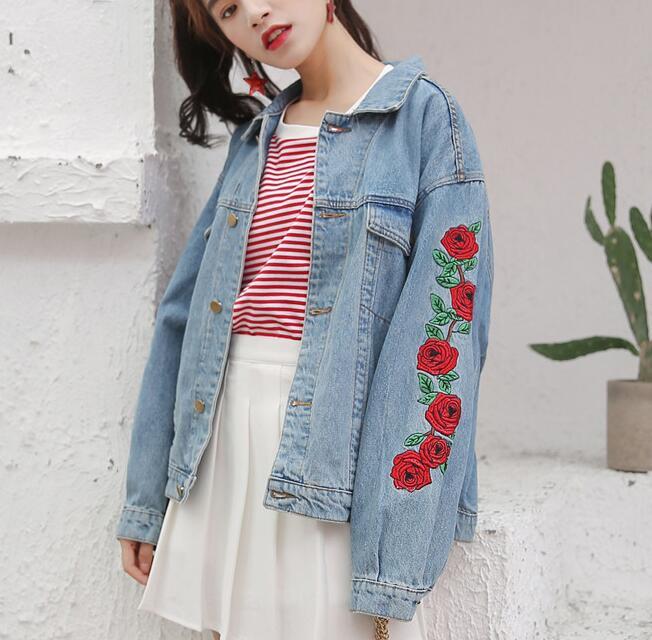 Rose Embroidery Denim Jacket On Storenvy