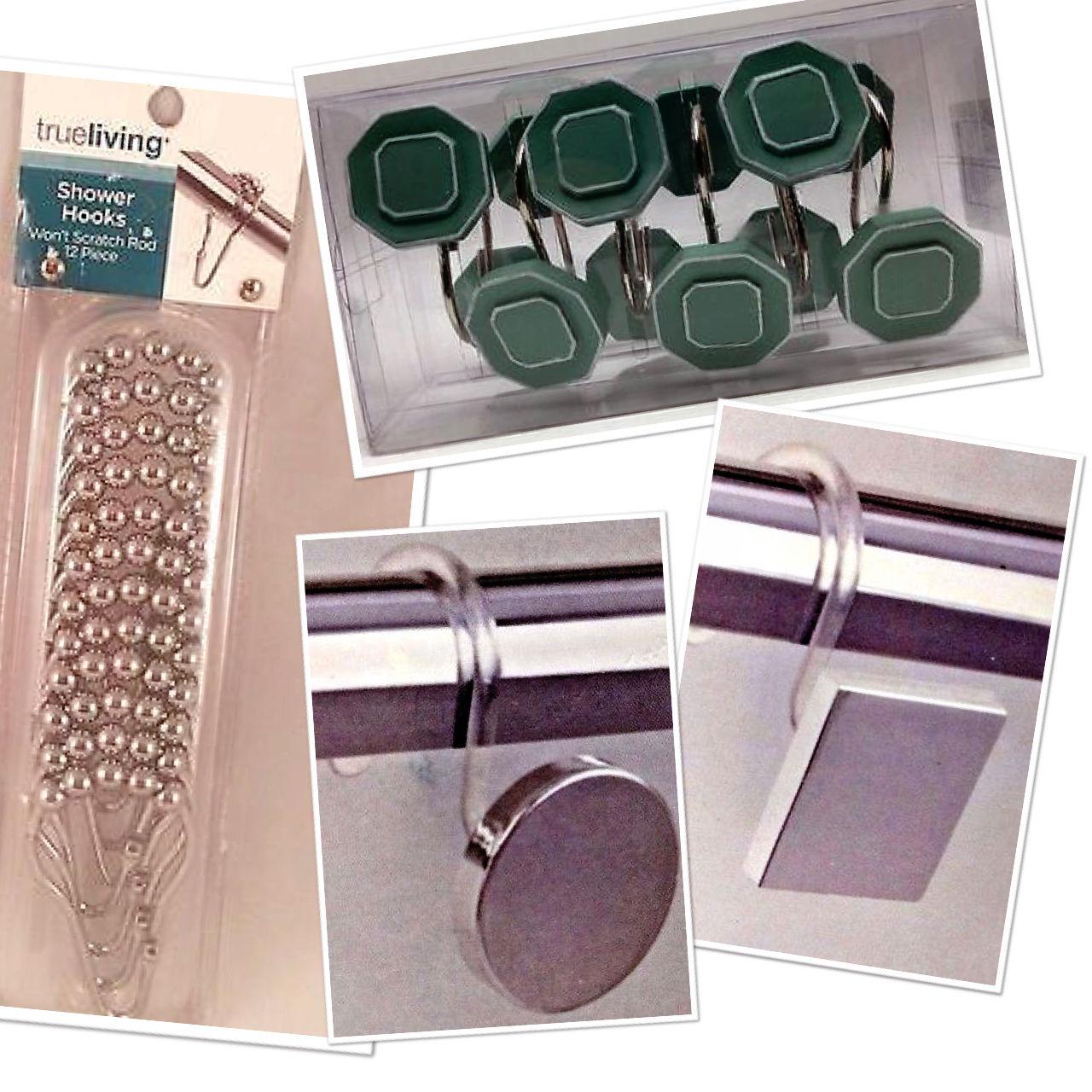 Shower Hooks For Curtain Liner Rod 12 Pack
