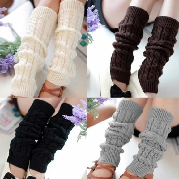 Womens Knit Crochet Winter Leg Warmer Socks