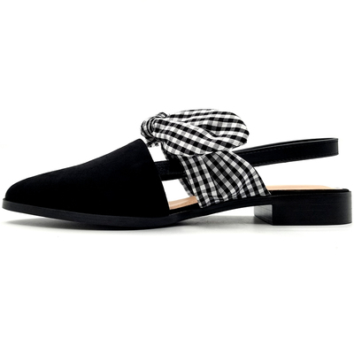 The word with a bowknot casual shoes thick with pointed flat shoes baotou single shoes female