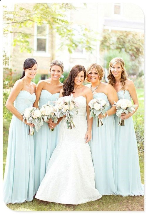 a line cheap simple long chiffon pale blue bridesmaid dress,long ...