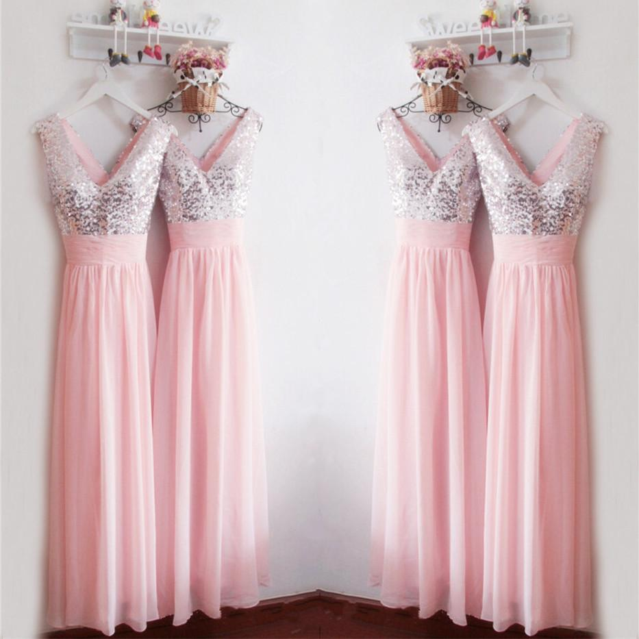 Glitter Sequins V Neck Long Chiffon Pink Bridesmaid Dresses 2017 ...