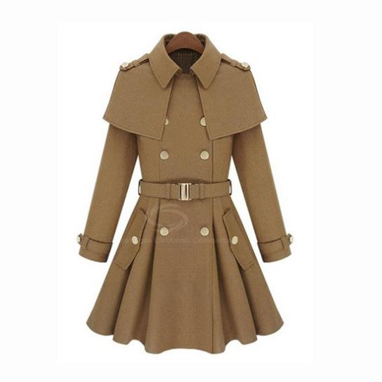 Solid Color Slimming Woolen Blend Womens Coat With Belt