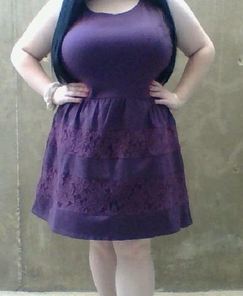 Purple & Lace Dress (Plus-Size)
