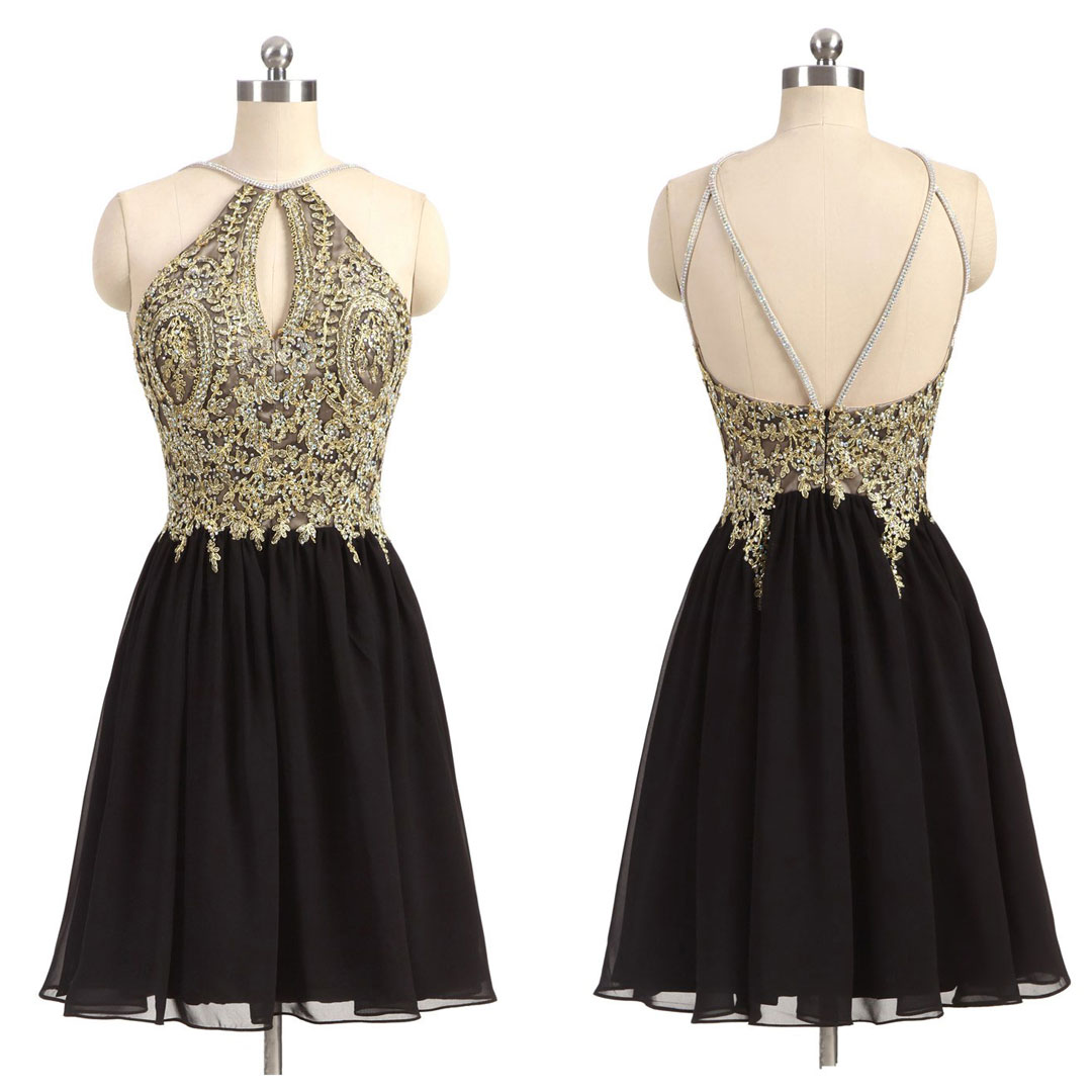 Gold and Black Chiffon Short Homecoming Dress f8ddcc86e