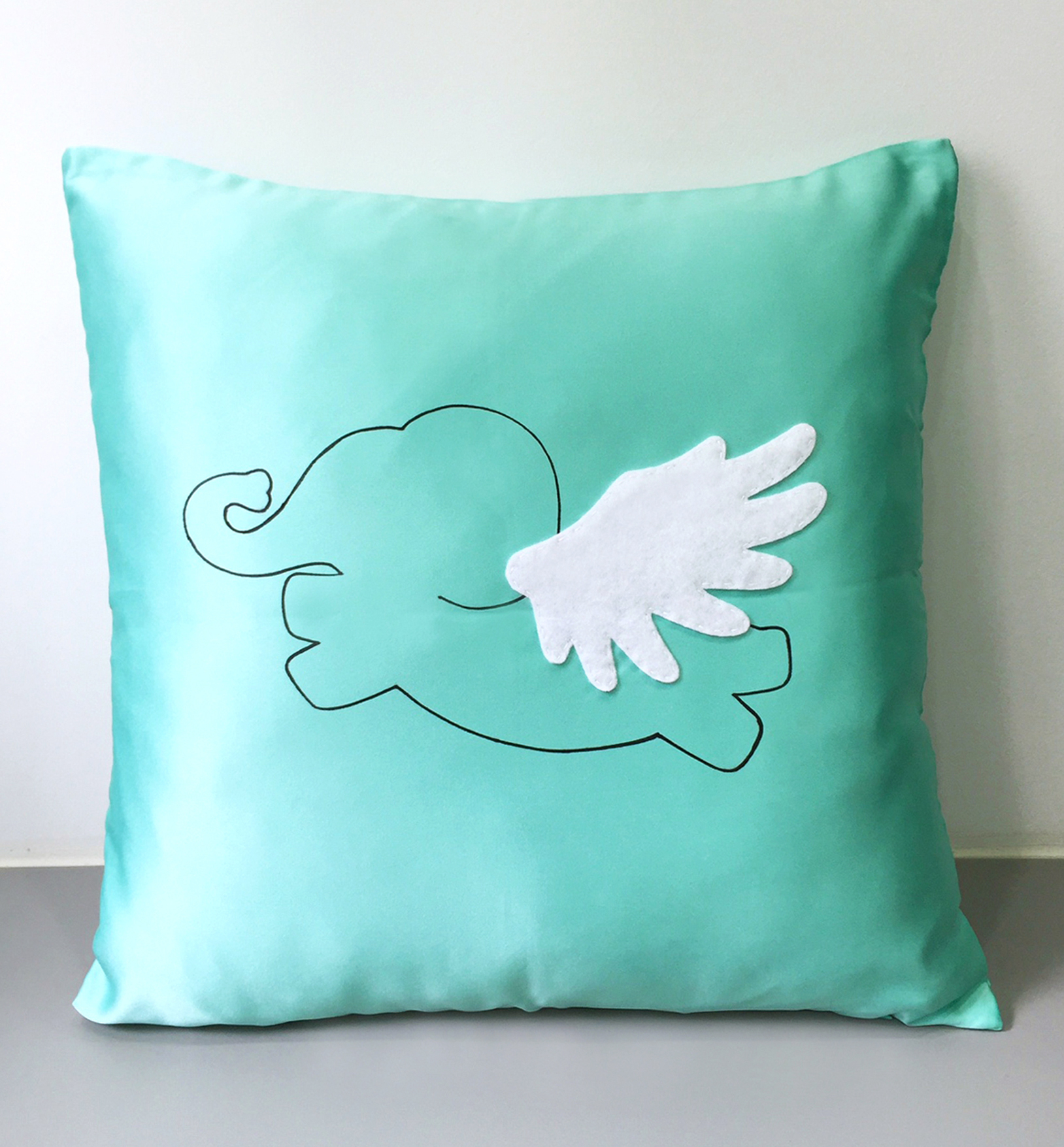 Flying Elephant Mint Green Decorative Pillow Cover. Cute Animal Wonderland 17inch Cushion Cover. Children Room Pillow. Mint Nursery Decor