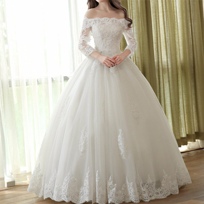 Off Shoulder Wedding Dresses Long Sleeve Wedding Dresses Simple Design Elegant Lace Bridal Dresses 1796 From Luckybridal