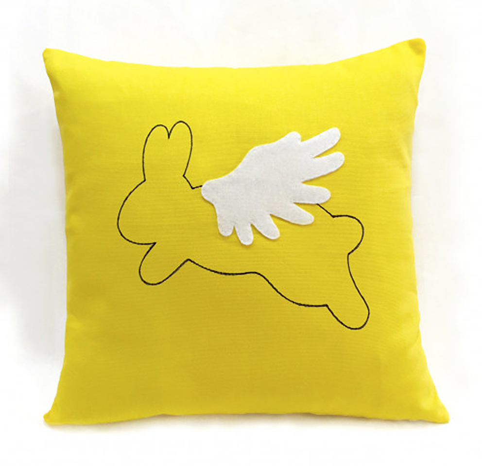 Flying Rabbit Bright Yellow Decorative Pillow Cover. Flying Animal Wonderland 17inch Cushion Cover. Children Room Pillow Case. Nursery Decor