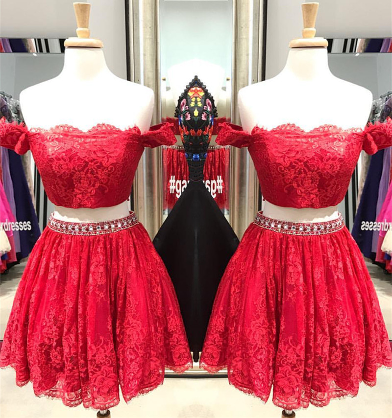 Two Piece Off Shoulder Red Lace Homecoming Dress,Lace Homecoming Dress,Red Prom Dress,Short Cocktail Dress
