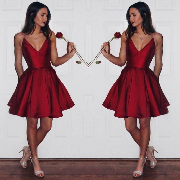 4093b22af5 Sexy Simple A-line Princess Open-back Red Satin Short Mini V-Neck ...