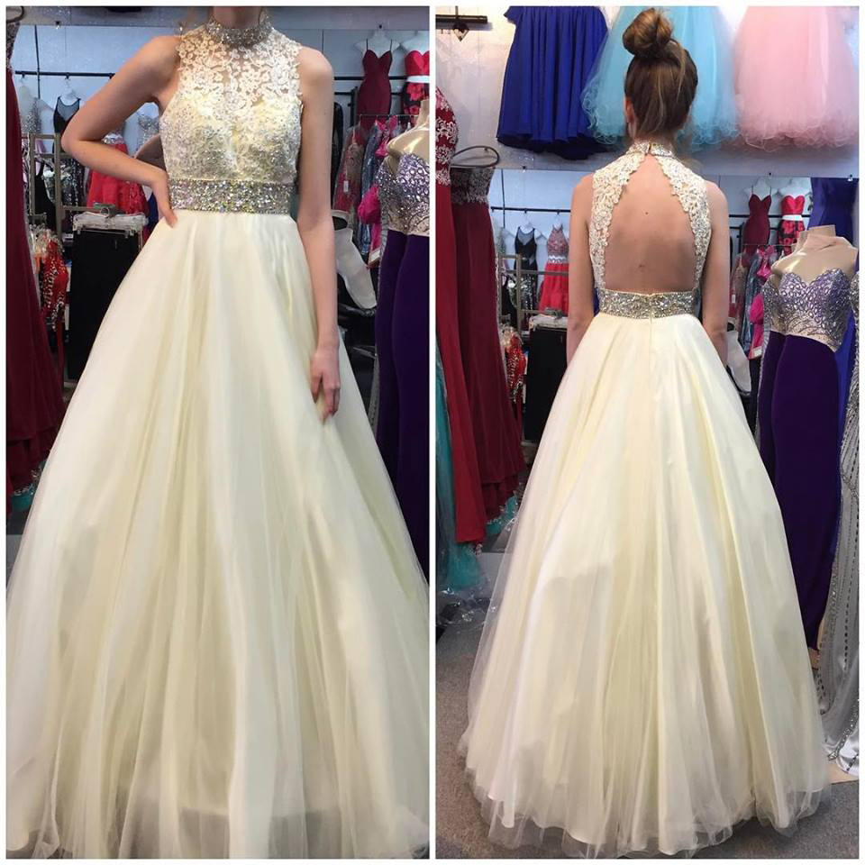High Neck Yellow Tulle Lace Prom Dress-elegant Tulle Prom Dress-beaded Evening Dress-sleeve Homecoming Dress-prom Dresses-formal Gown