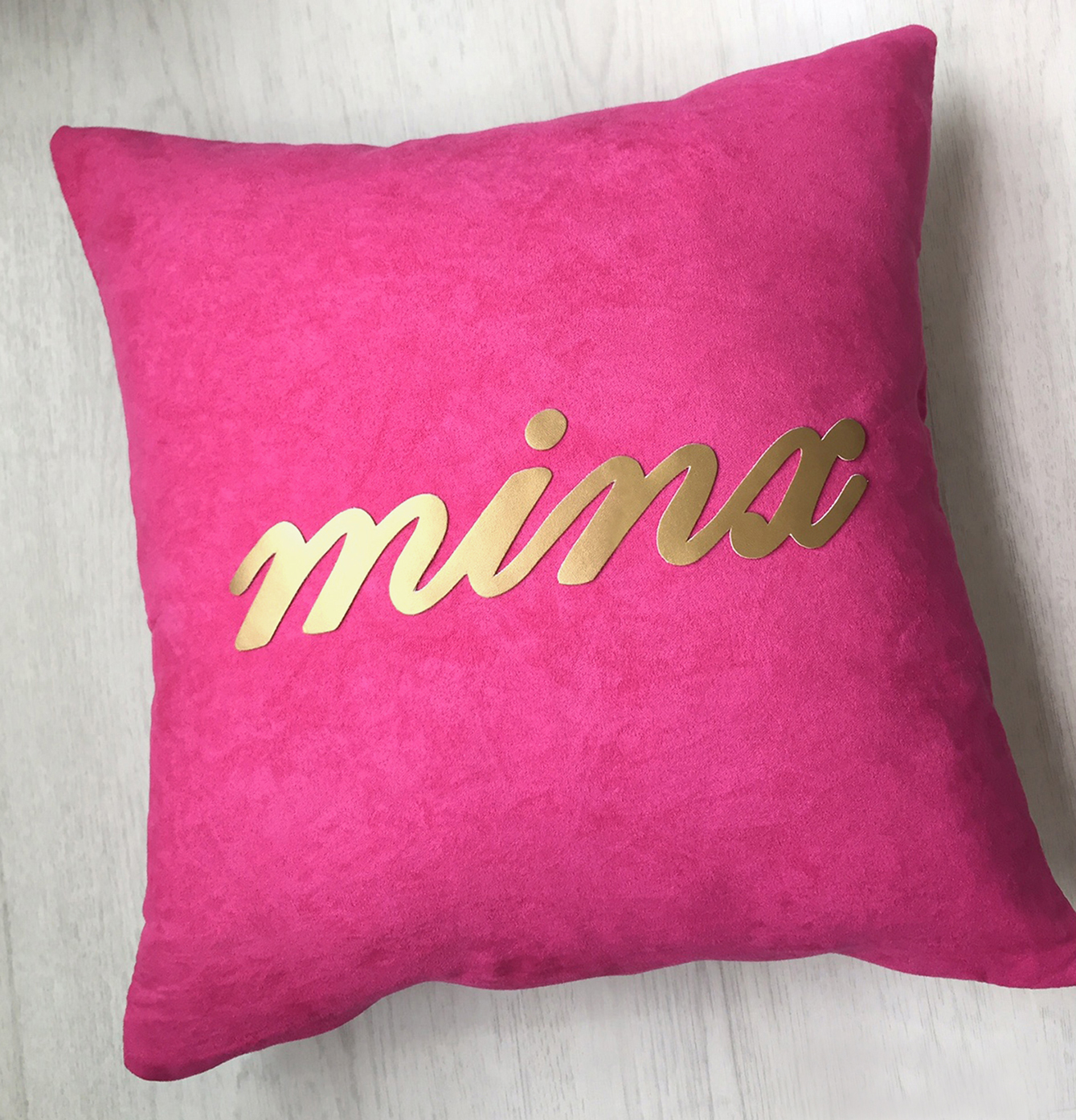 Handmade Gold Minx Text Decorative Fuchsia Pillow Cover. 16inch Hot Pink And Gold Cushion Cover. Modern Statement Pillow Case