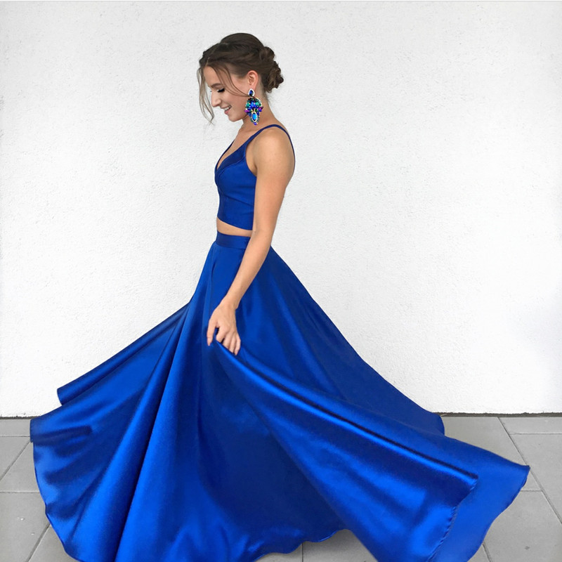 two piece prom dresses,royal blue prom dresses,2 piece prom gowns ...