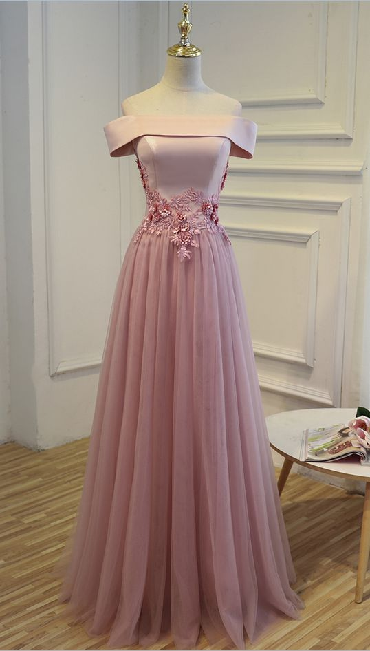E3 One Boat Neck Short Sleeve A Line Pink Tulle Prom Gowns, Wedding ...