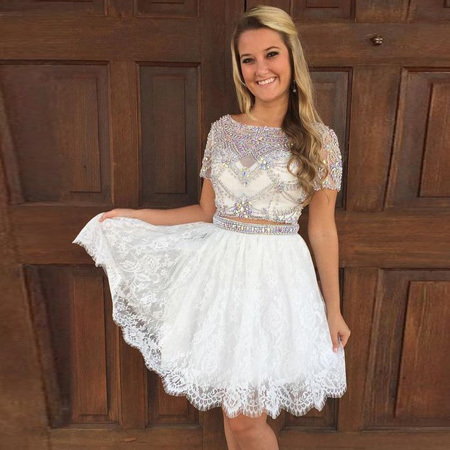 f344ac27335 Stylish Two Piece A-Line Bateau Short Sleeves Lace Homecoming Dress With  Beading · Dressywomen · Online Store Powered by Storenvy