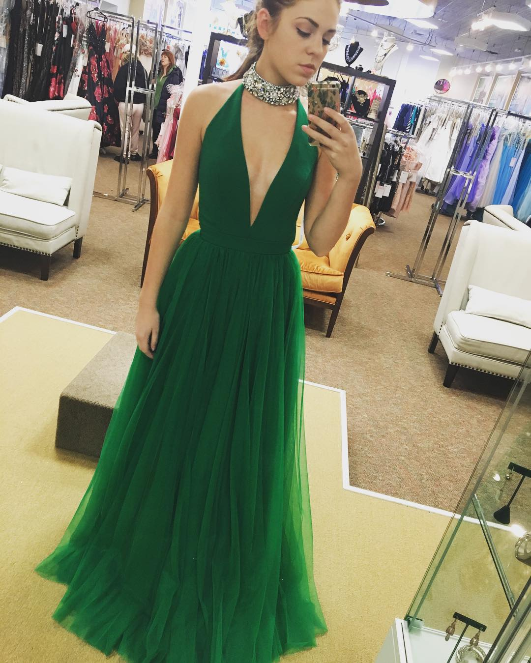 Deep V Neck Prom Dress, Tulle Prom Dress, A-line Long Prom Dress ...