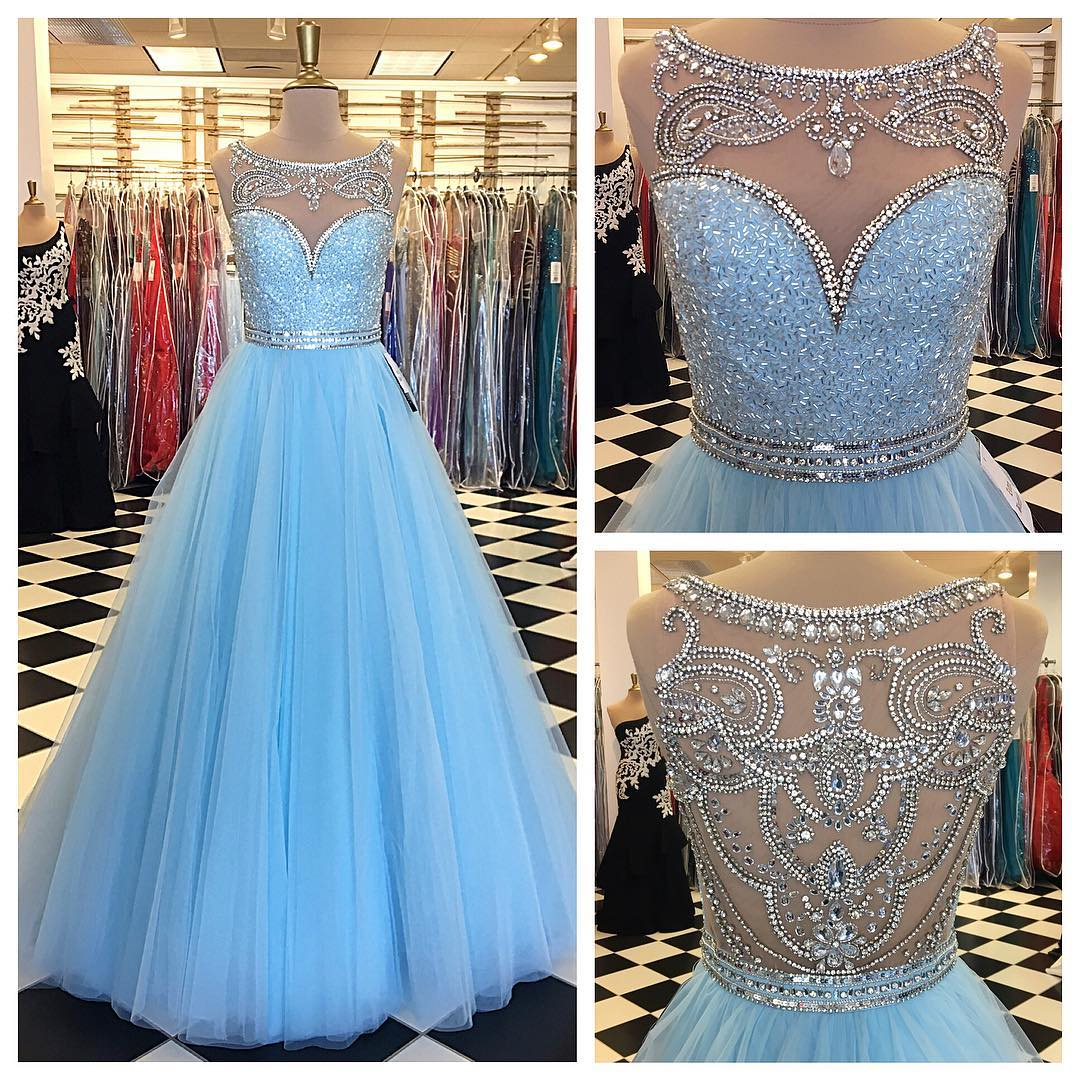 A Line Ball Gown Long Tulle Blue Crystal Prom Dress,Long Tulle ...