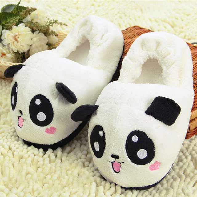 Cute Funny Panda Eyes Women Slippers Lovely Cartoon Indoor Home Soft Shoes