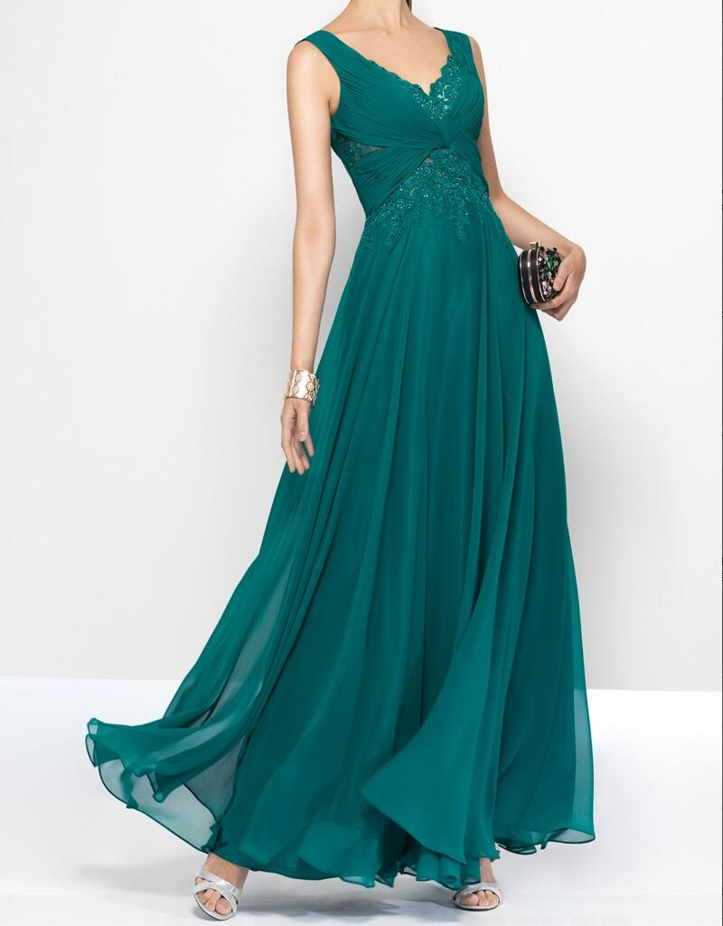 Sexy V Neck Long Chiffon Lace Prom Dress-teal Color Long Chiffon Lace Party Formal Elegant Evening Gown