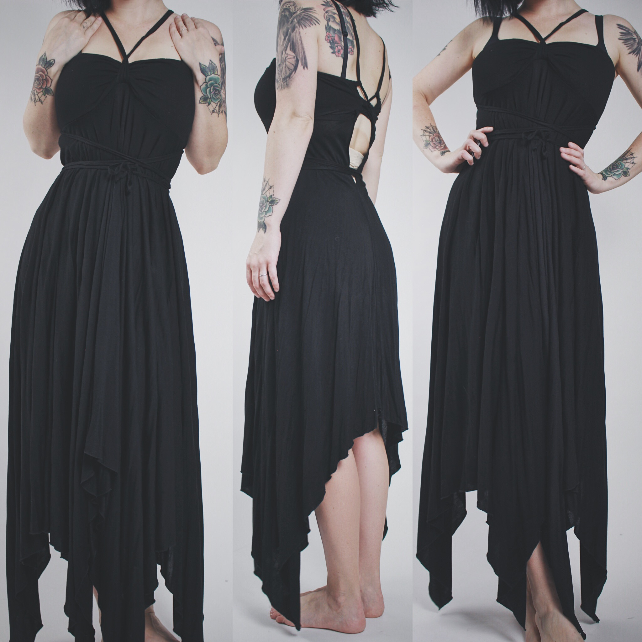 0d46756f92 CLAIMED @vamps420 - Vintage 90s Black Multi-Way Strappy Asymmetrical Maxi  Dress