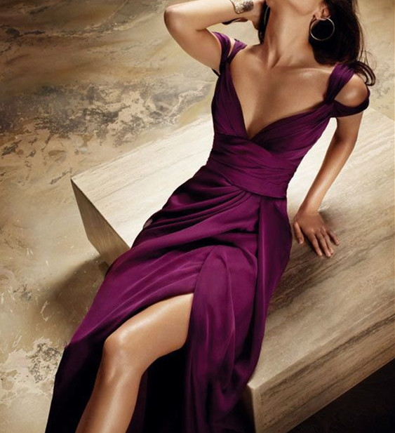 A Line Off Shoulder Sexy Split Chiffon Prom Dresses-slit Evening Gowns-satin Formal Gown-simple Prom Gowns For Teens