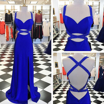 Sexy Sheath Split Royal Blue Backless Prom Dress-long Sexy Simple Split Evening Party Gown