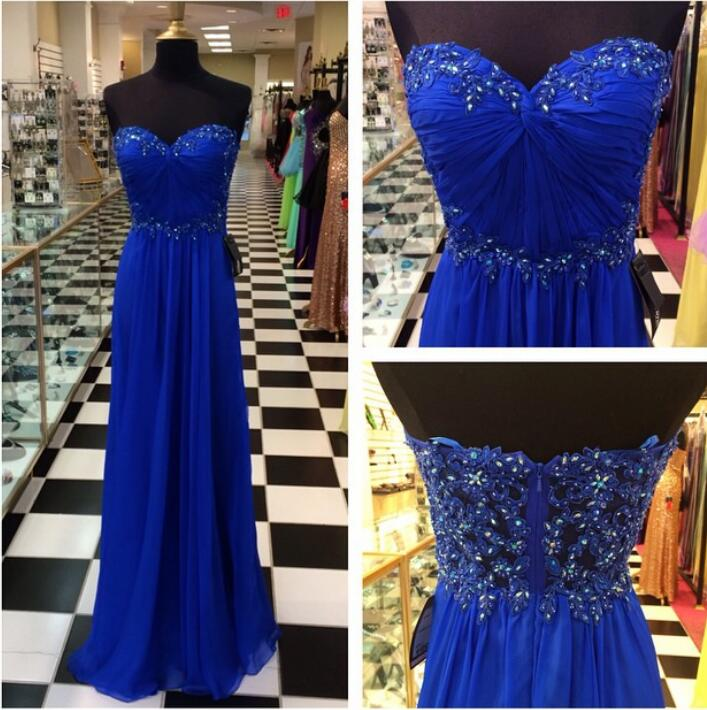 Royal Blue Prom Dresses-royal Blue Prom Dress-silver Beaded Formal Gown-beadings Prom Dresses-evening Gowns-chiffon Formal Gown For Senior Teens