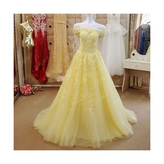 86e6aaf8ea81 A Line Long Tulle Off Shoulder Yellow Lace Formal Prom Dress