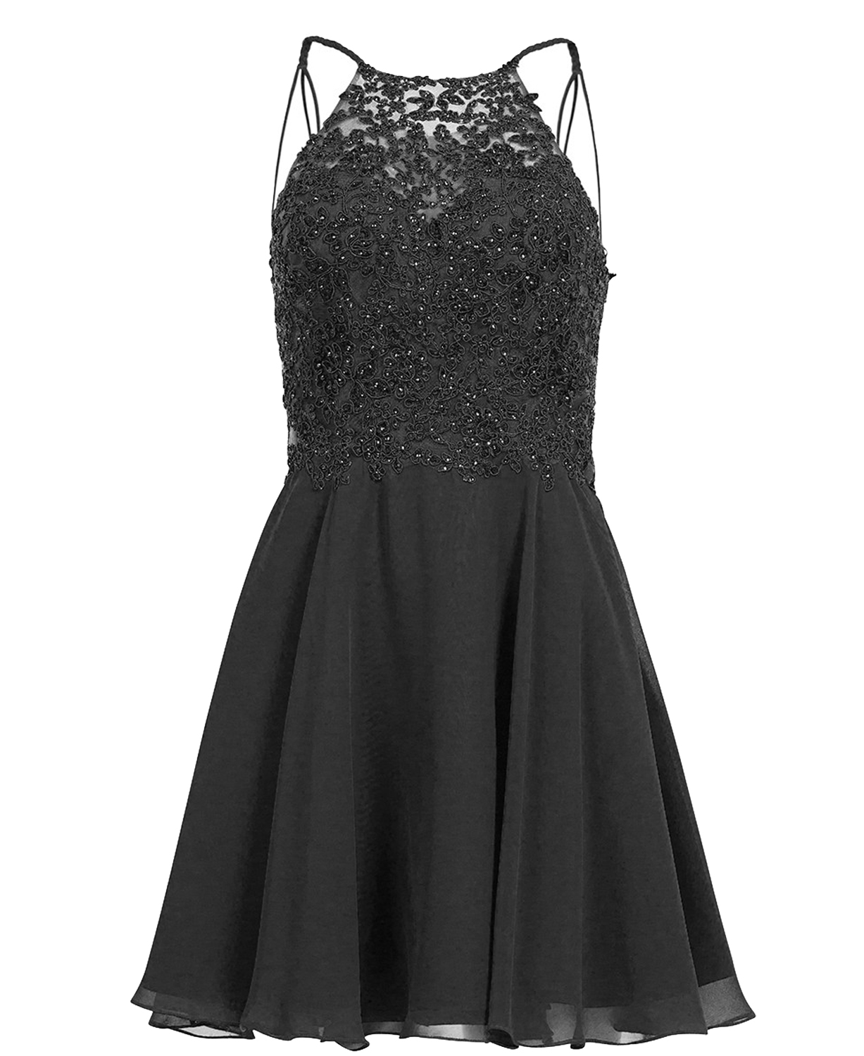V Back Long Chiffon Short Lace Black Homecoming Dress-a Line Short Lace Black Prom Party Gown-chiffon Elegant Sexy Lace Evening Gown