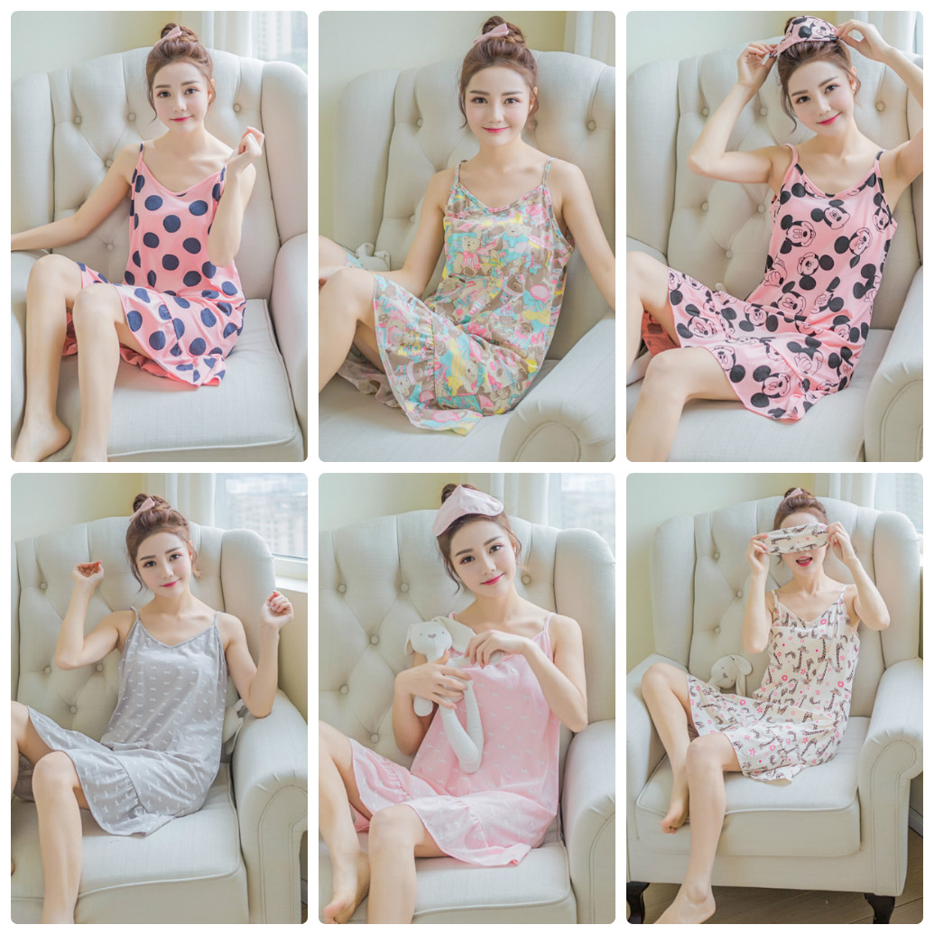 Thin Cotton Sexy Print Ruffles Nightgown Home Wear Lovely Nightgowns For Women Girl Sleepwear