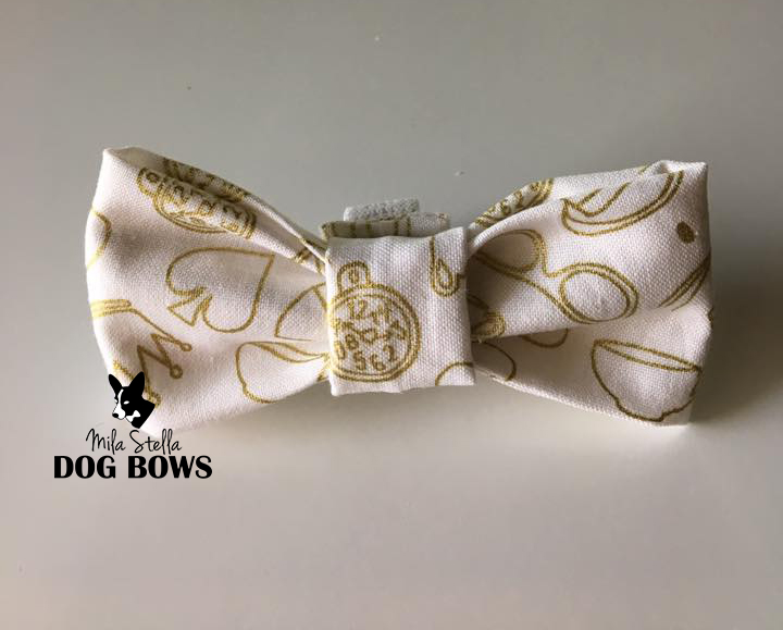 Wonderland Metallic Gold Dog Bow