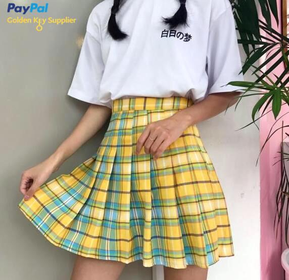 Rainbow Plaid Pleated Skirt from Moooh!!