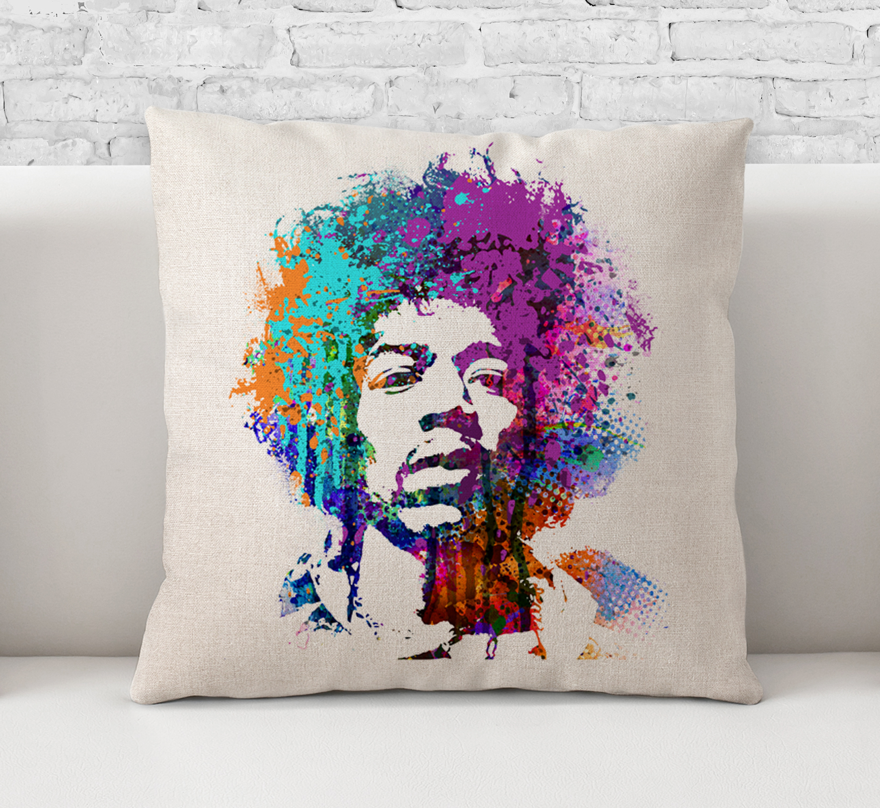 Throw Pillow CaseCushion Cover Jimi HendrixRock And RollRock MusicLegendGuitarist Painting Art 088